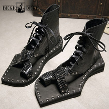 Genuine Leather Snakeskin Runway Casual Sandals Ankle Boots Geometric Shape Sole