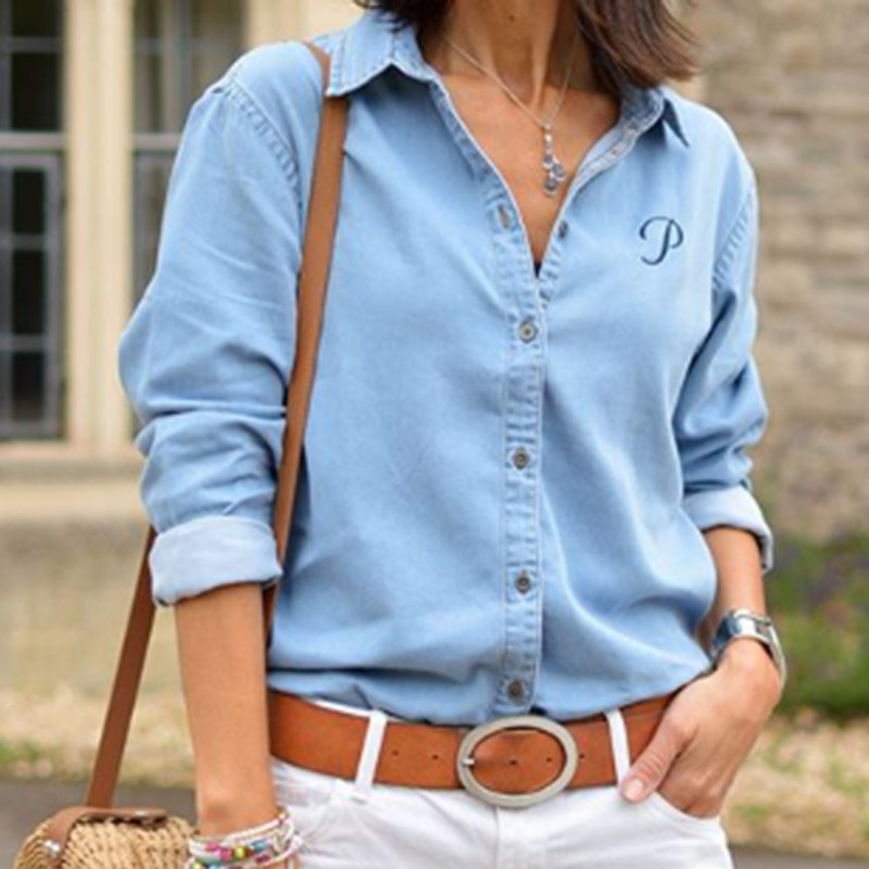 Autumn Women Denim Shirt Long Sleeve Casual Button Blouse V Neck Tops Loose Blue Color