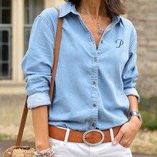 Autumn Women Denim Shirt Long Sleeve Casual Button