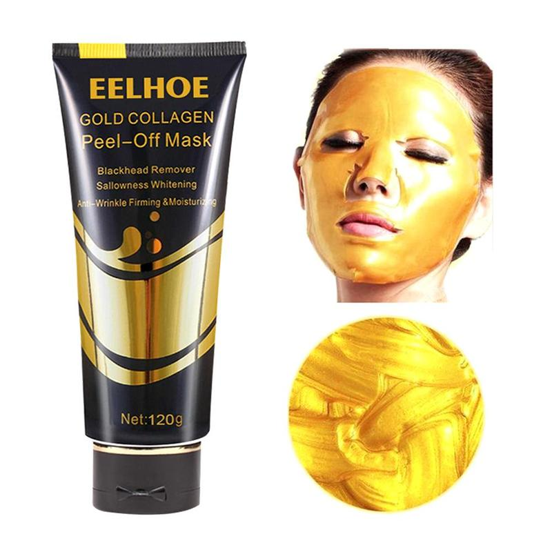24K Gold Collagen Facial Mask Lifting Firming To Blackheads Smooth Tear Peel Off Masks Anti Aging Whitening Wrinkle Face Care