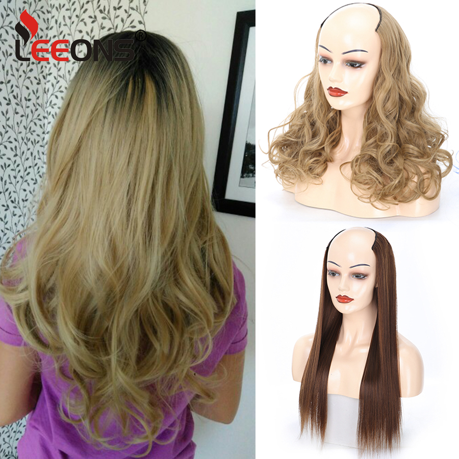 Leeons U Part Wig Synthetic Hair Clip In Hair Extensions Fake Mega Hair 7 Clip In Extension Ombre Heat Resistant Hairpieces 230G