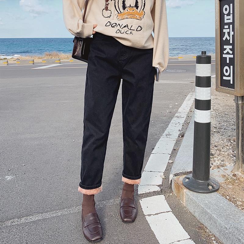 MISHOW Atumn Winter High Waist Velvet Jeans Causal Solid Zipper Straight Jeans MX19D2379