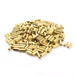 Uxcell 200 sztuk M3 x 12mm gwint złoty Tone mosiądz filar PCB nakrętka sześciokątna Spacer Spacer