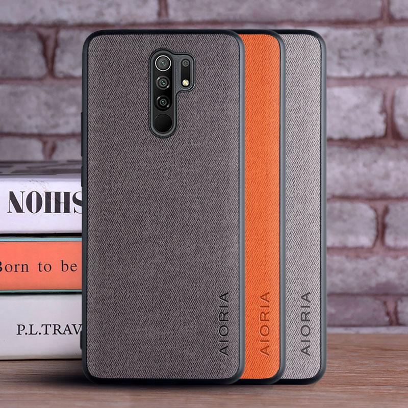Case For Xiaomi Redmi 9 Coque Luxury Textile Leather Skin Soft TPU Hard PC Phone Cover For Xiaomi Redmi 9 Case Funda