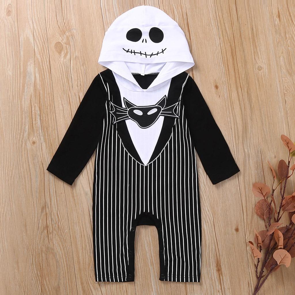 Baby Clothes Baby Romper Boys Clothing Cotton Infants Baby Boys Print Bat Demon Halloween Hooded Romper Jumpsuit Ropa De Bebe