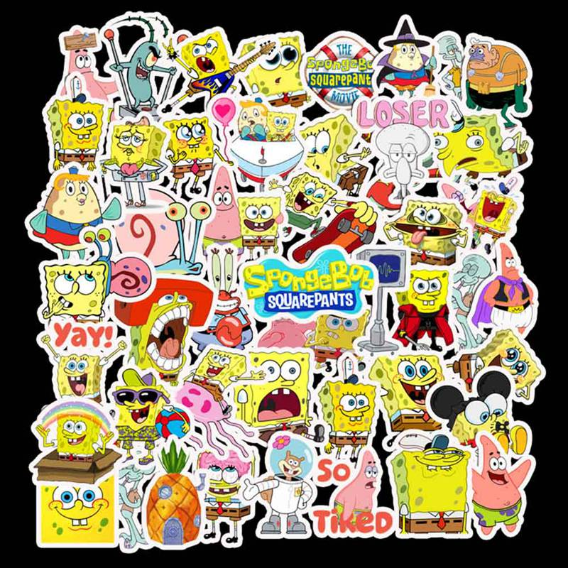 50Pcs/Pack SpongeBob Stickers Cartoon Graffiti For Motorcycle Notebook Luggage Laptop Bicycle Skateboard
