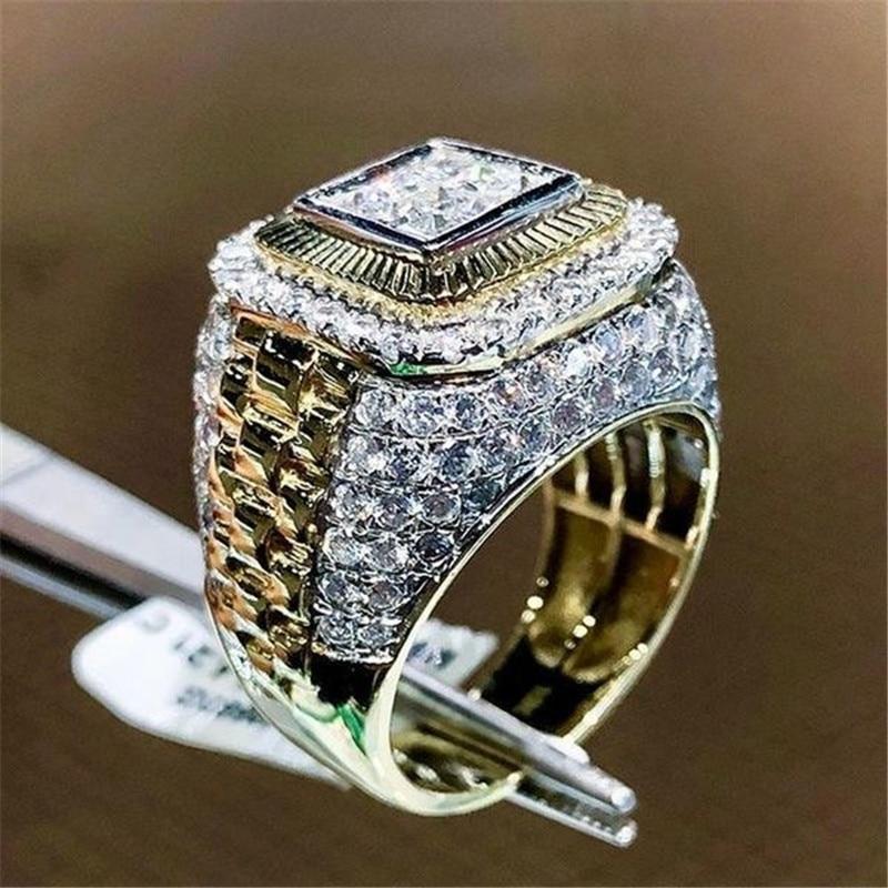Hip Hop Square Ring Men Vintage Jewelry Rings For Women Full Rhinestone Golden Punk Finger Ring Mens Rock Crystal Wedding Rings