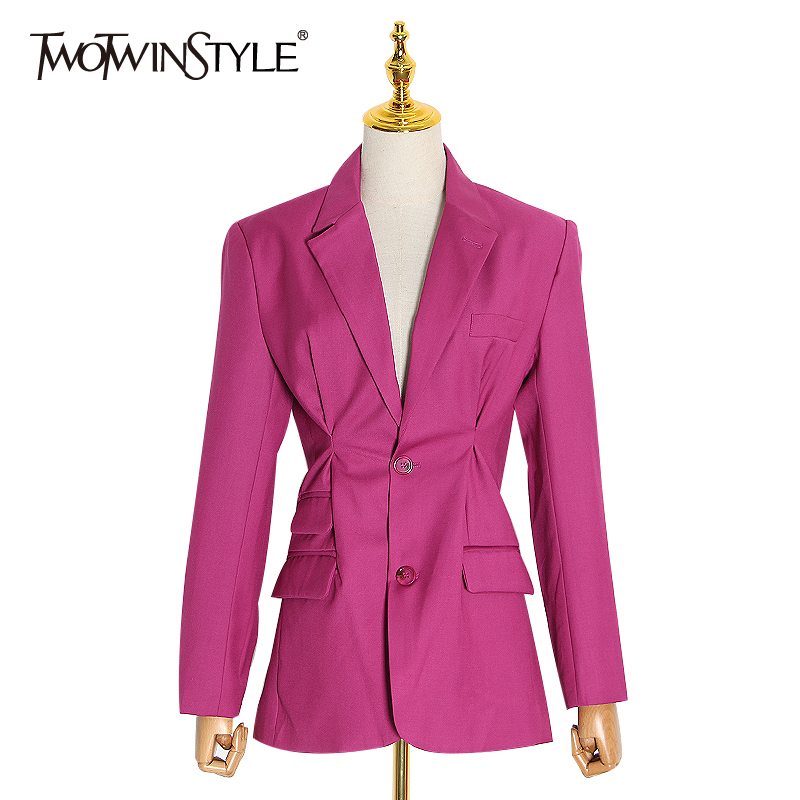 TWOTWINSTYLE Casual Asymmetrical Blazer Women Lapel Collar Long Sleeve Tunic Sexy Suit For Female 2020 Fashion Clothing Tide