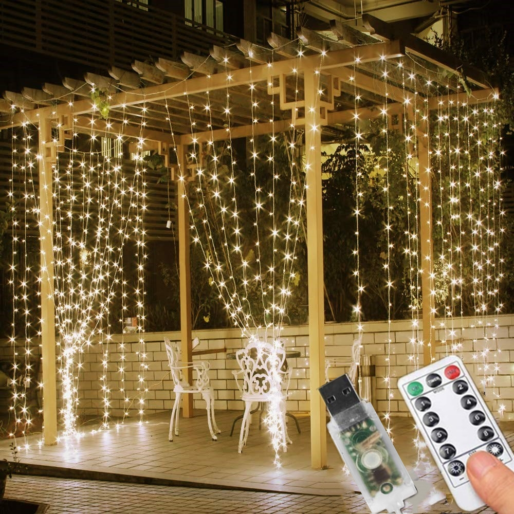 Led Curtain Lights Icicle 3x3M Fairy String Lights USB Operated With Remote &Timer Indoor Outdoor Light For Window Wedding Decor