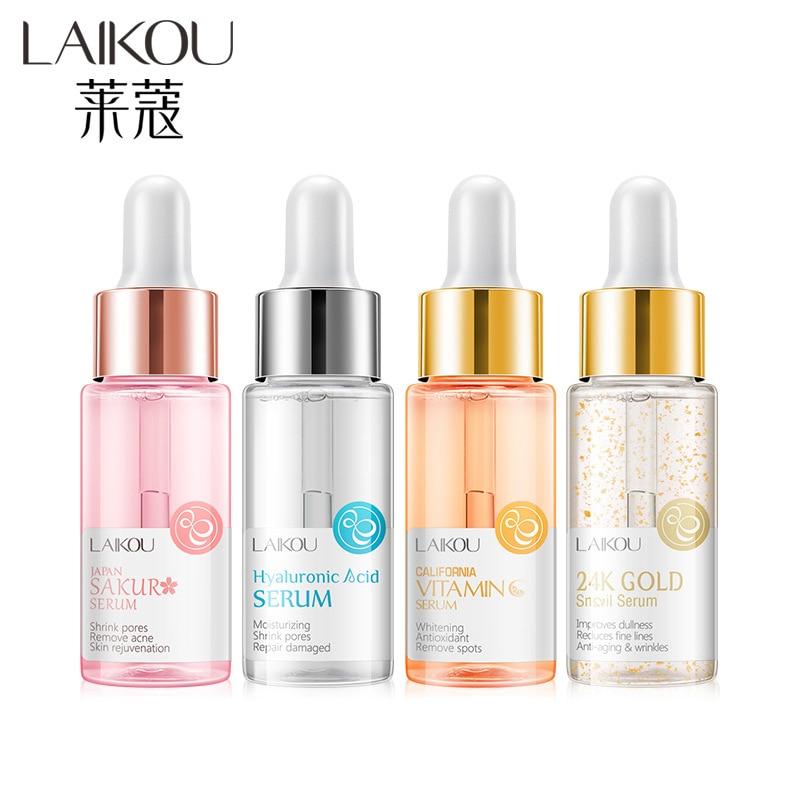 LAIKOU Sakura Vitamin C 24K Gold Face Serum Hyaluronic Acid Shrink Pores Remove Acne Moisturizing Essence Brighten Facial Skin