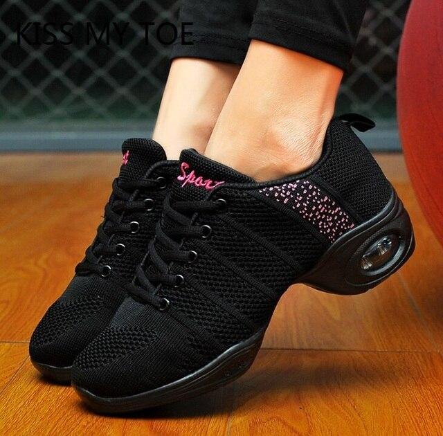 Baskets aérées en maille pour femmes, chaussures de Sport plates, à la mode, danse du printemps 2020, décontracté
