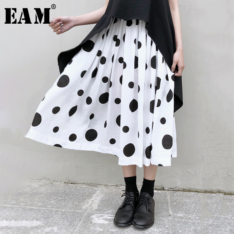 [EAM] High Elastic Waist Black Dot Print Split Temperament Half-body Skirt Women Fashion Tide New Spring Autumn 2020 1N538