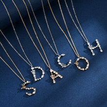 925 Sterling Silver A-Z Long Choker Shiny Zircon Pearl Pendant Butterfly Letter Necklace Wedding Gift For Women Fine Jewelry