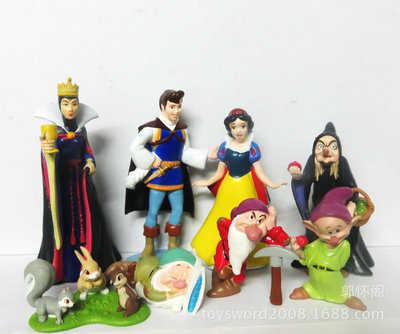 ديزني الأميرة سنو وايت والأقزام السبعة الملكة الساحرة الأمير الشكل اللعب لعبة بولي كلوريد الفينيل نموذج دمى للبنات هدايا أعياد ميلاد للأطفال