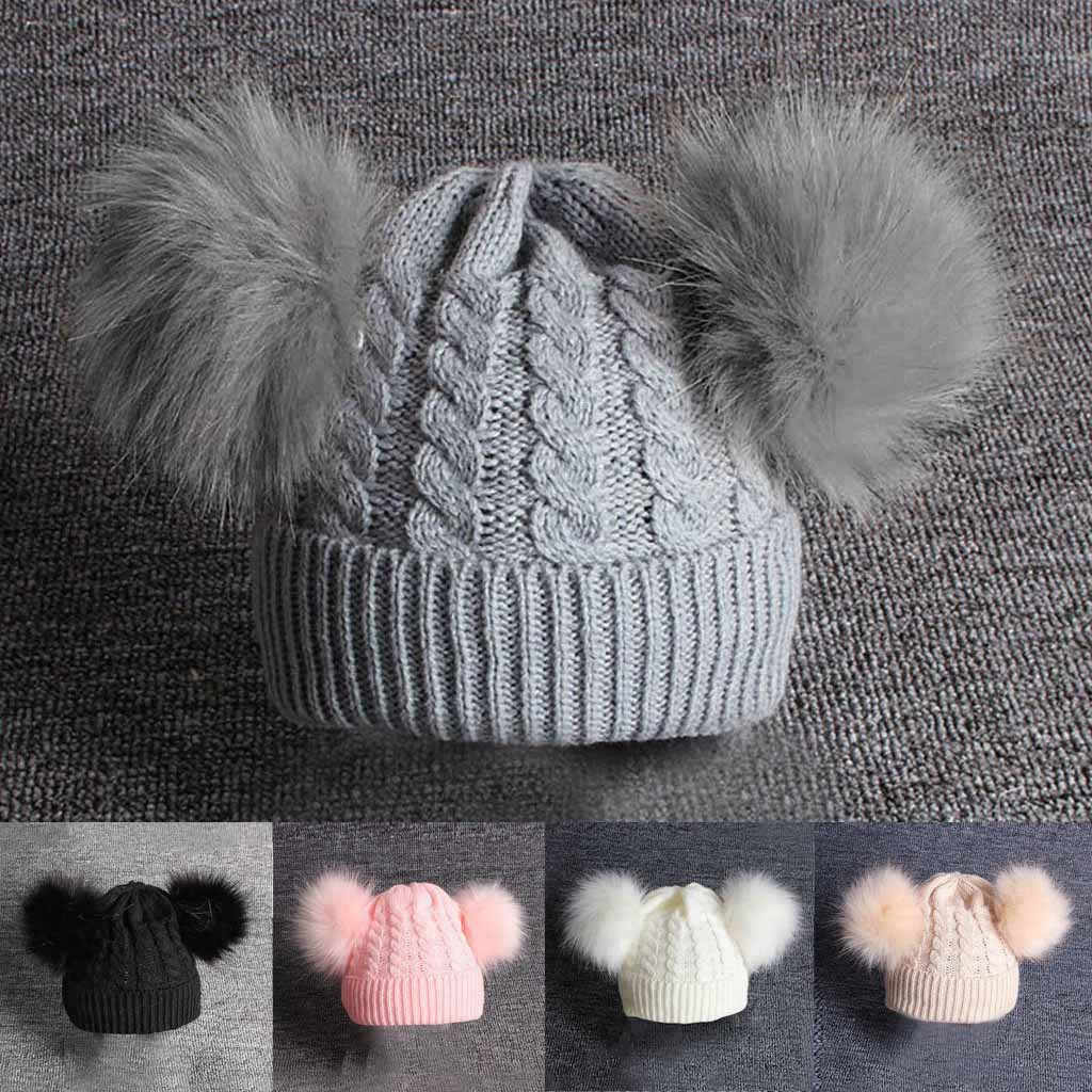Childrens Winter Warm Childrens Baby Knitting Wool Hemming Hat Keep Warm Winter Hiarball Fur Ball Cap Babys Accessories beanie