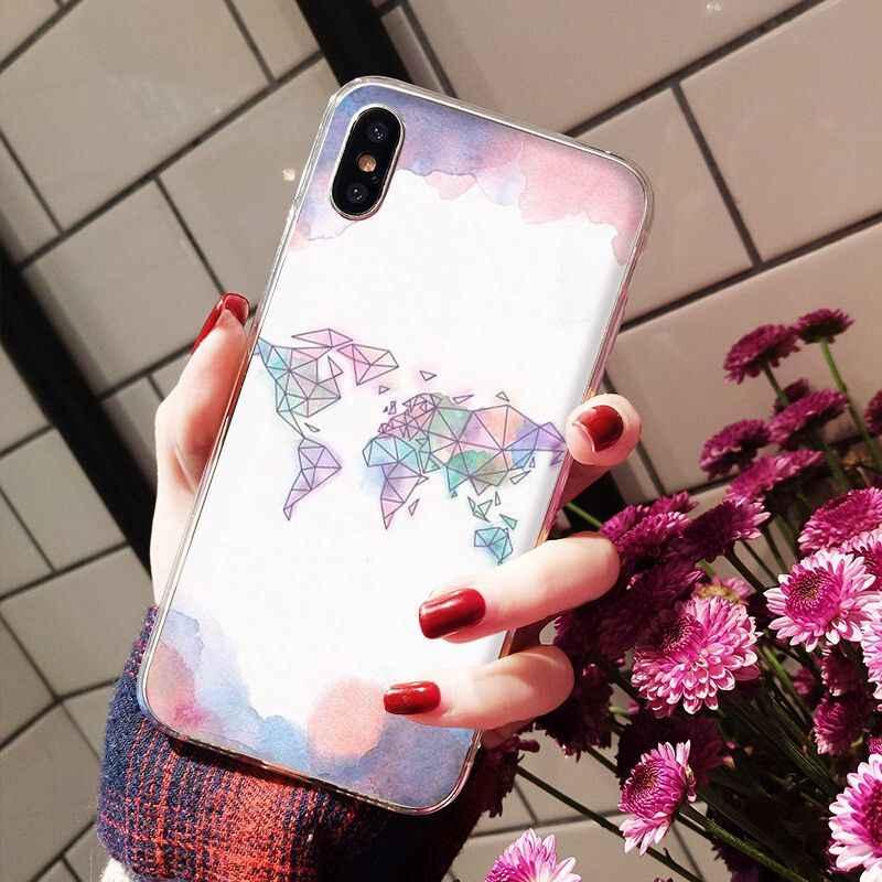Nbdruicai Wereldkaart Reizen Vliegtuig Tpu Zachte Siliconen Phone Case Cover Voor Iphone 11 Pro Xs Max 8 7 6 6S Plus X 5 5S Se Xr Cover