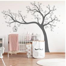White Tree Wall Decal Huge wall Sticker Wall Nursery Tree and Birds Wall Art Nature Wall Decor