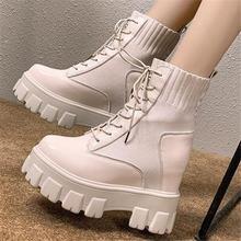 Модные ботинки на массивной платформе со шнуровкой; Женские