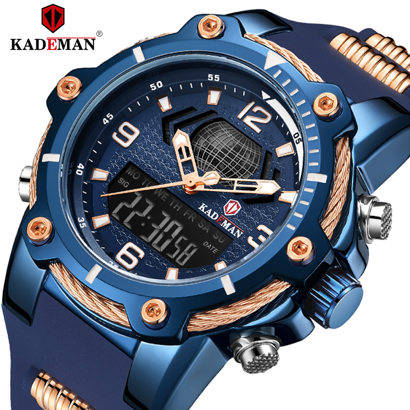 KADEMAN Watches Men Waterproof Military Sports Digital Watch Fashion Top Brand Male Rubber Quartz Wristwatch Relogio Masculino
