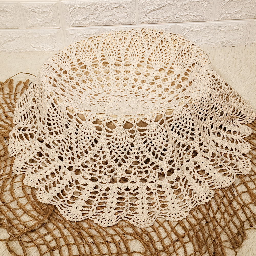 Round Cotton Handmade Crochet Newborn Floral Blanket Photo Basket Stuffer Filler Newborn Infant Photography Shooting Background
