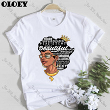 Afro Girl 아프리카지도 헤어 크라운 탑 여성 셔츠 Melanin Queen 여성 티셔츠 Black History Month Cotton Tees Tumblr tshirt(China)