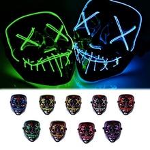 Fashion Halloween LED Mask Portable DJ Party Light Up Glowing Masks Fluorescent Fake Luminous Costume Purge