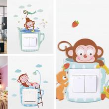 new 1PC PVC Wall Sticker Cute Monkey DIY Light Switch Cover Stickers Decor For Kids Room Decoration Home