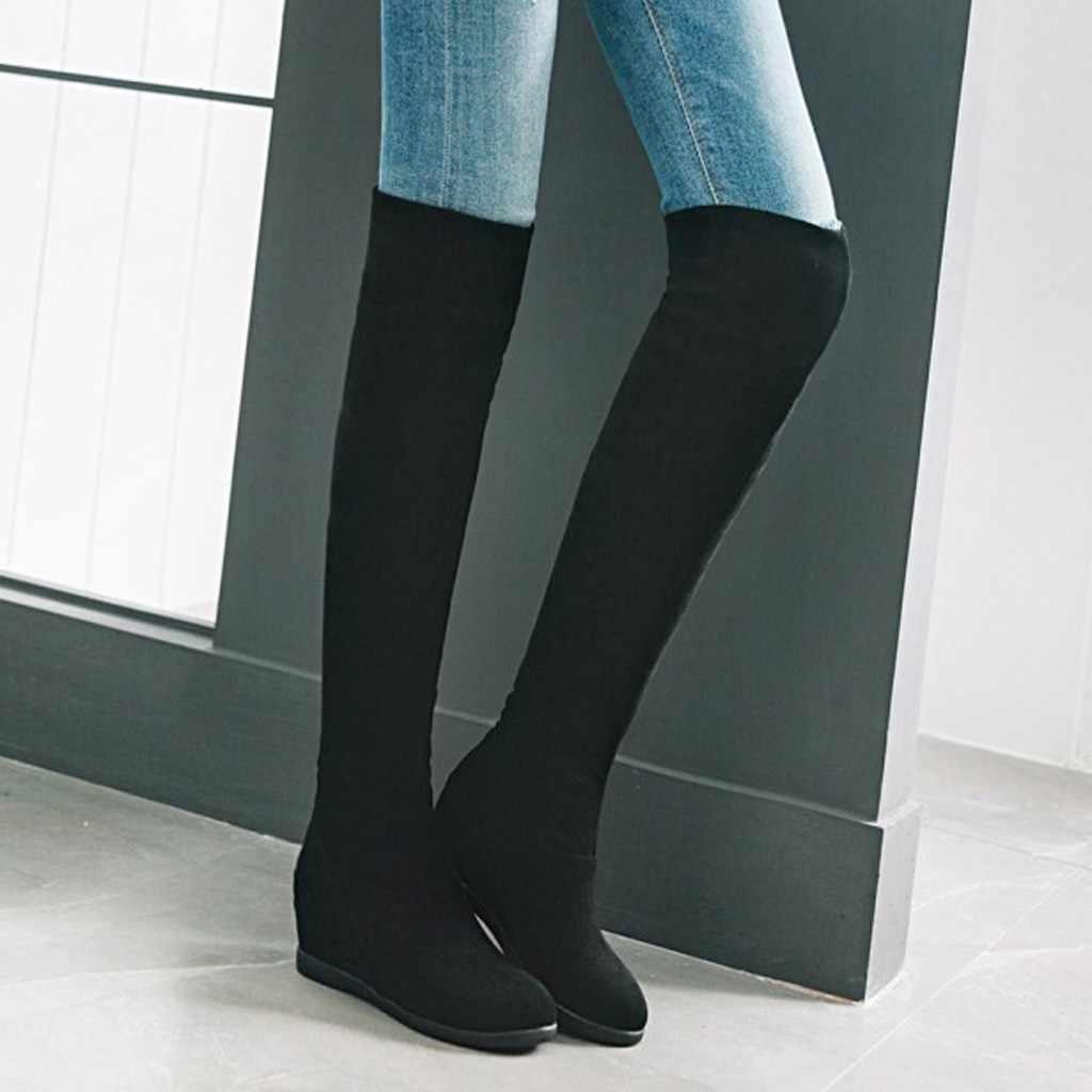 Vrouwen dij hoge laarzen winter sexy lange laarzen vrouwen Warm Knie Elastische Laarzen Wig Hoge Laarzen Grote Maat Student schoenen Boot # g4