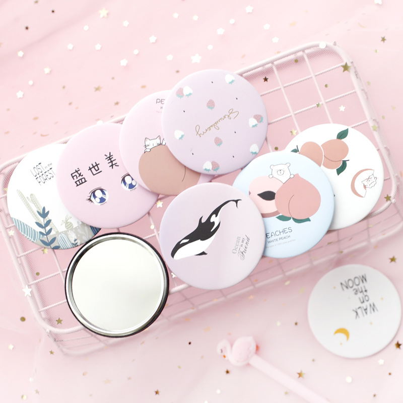 1pc Cartoon Anti-fall Portable Small Mirror Cute Girls Makeup Mirror Pocket Mirror For Beauty Tools