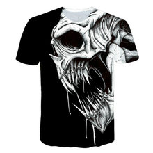 Children's skull t-shirt, funny clothes, hip-hop T-shirt, 3D T-shirt, men's short sleeve T-shirt, horror movie pattern. T-shirt