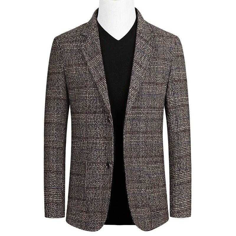 Mens Blazers Spring Autumn Men's Fashion Suit Jacket Coat Business Casual Middle-aged Slim Fit Plaid Suit Jacket Male Outerwear