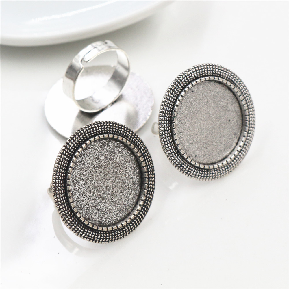 20mm 5pcs Antique Silver Plated Brass Adjustable Ring Settings Blank/Base,Fit 20mm Glass Cabochons,Buttons;Ring Bezels -K3-05