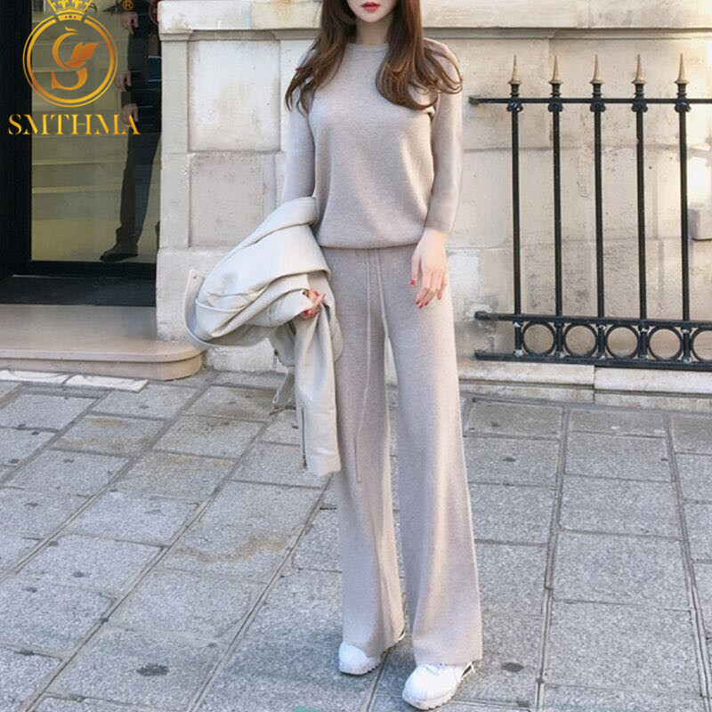 SMTHMA 2019 New Winter 2 Pcs Set Women Knit Wide Leg Pants + Sweater Sets Trousers Women Suit Two Piece Set Costumes For Women