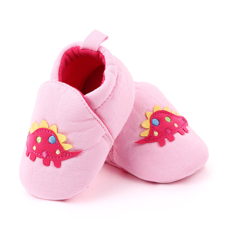 Cotton Toddler Baby Crib Shoes Cotton Print Cartoon Dinosaur Slippers Soft Sole Sneaker First Walkers 0-18M1 L