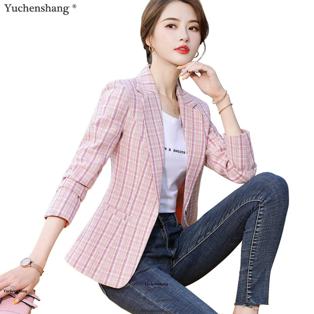 Woman Pink Apricot Plaid Blazer Autumn Winter Outwear Casual Jackets Female Slim Single Button Coat For Girl S-4XL