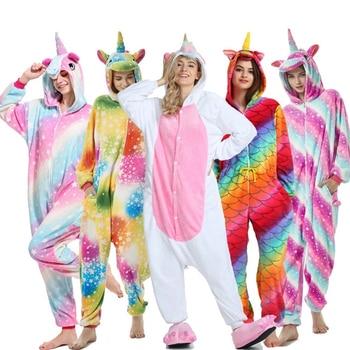 Pajamas For Women Unicorn Kigurumi Flannel Cute Kigurumi Pajamas Women Winter Sleepwear unicornio Nightie Pyjamas Home wear фото