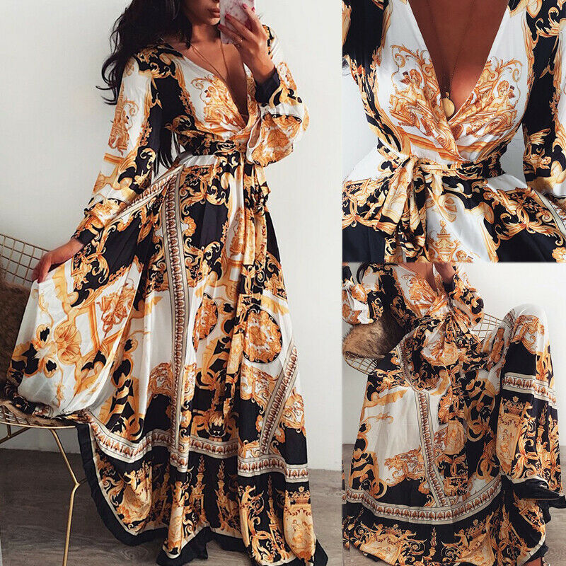 Summer Beach Maxi Dress Women Floral Print Boho Long Chiffon Dress Ruffles Wrap Casual V-Neck Sexy Party Dress Robe Femme