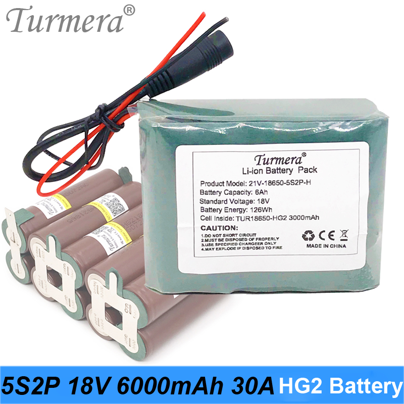 Turmera 18V 21V 6000mAh Reachargeable Lithium Battery Pack TUR18650HG2 3000mAh 30A Battery Cell with 5S 18V BMS for Screwdriver image
