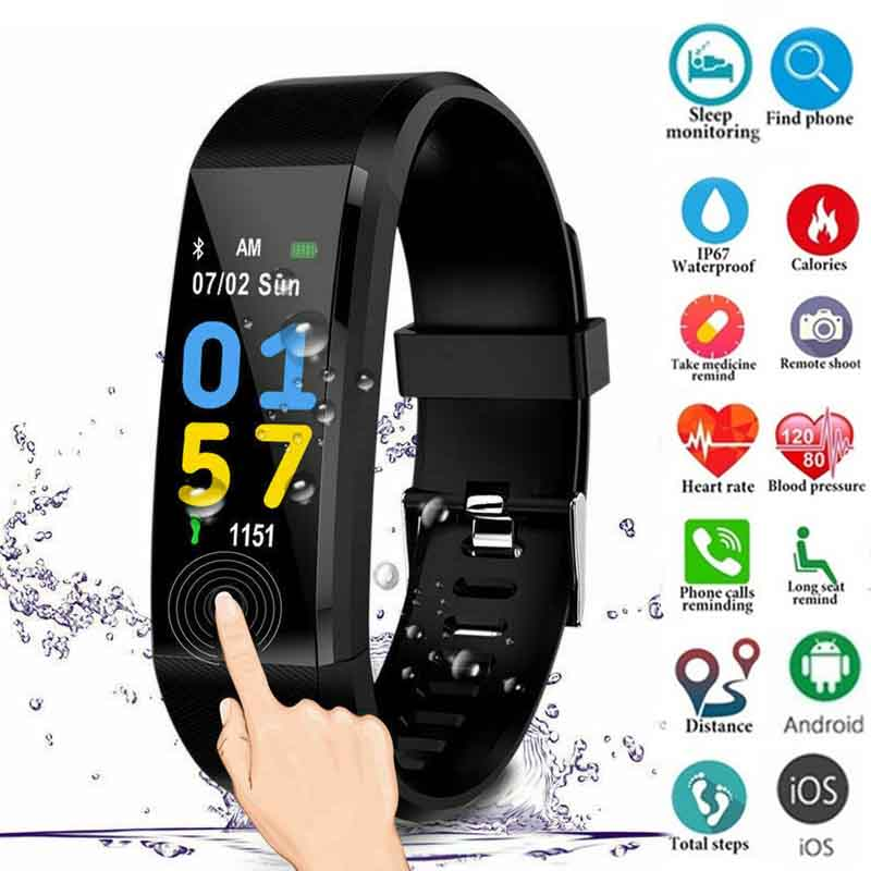 New D115Plus Pedometer Waterproof Smart Bracelet Blood Pressure Heart Rate Monitor Fitness Tracker Smartbracelet for Android/iOS