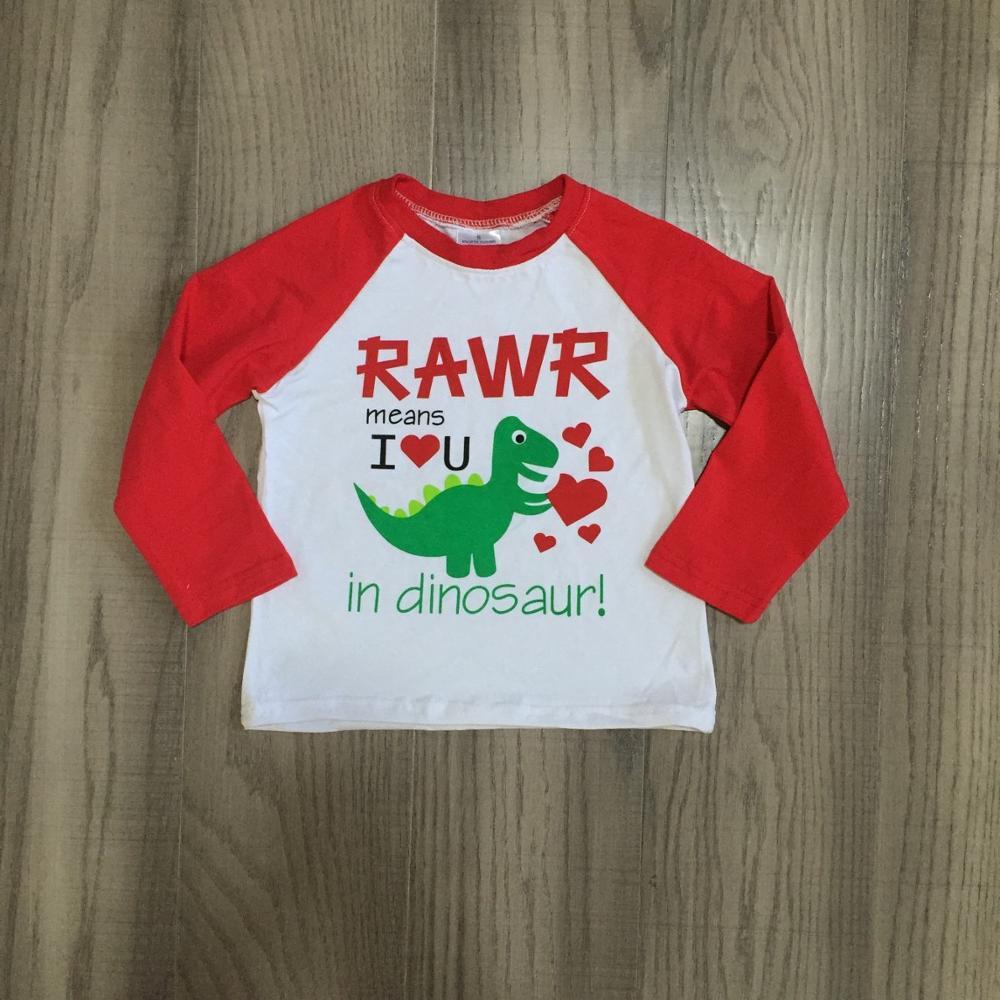 Girlymax Winter Spring Valentine's Day Baby Boys Red Grey RAWR Dinosaur Raglans Boutique Cotton Top Children Clothes Heart Shape 2