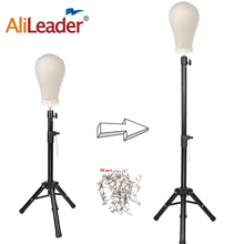 Alileader 50 Inch Tripod Stand With Canvas Block Head Training Mannequin Manikin Styling Making Wig Holder 50pcs T Needle