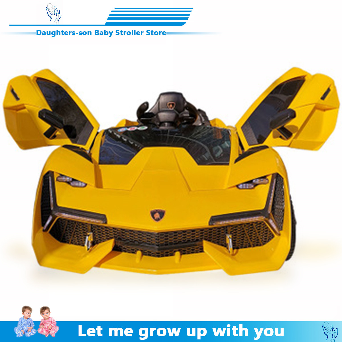 Children's Electric Car Four Wheeled Double Car With Remote Control Baby Car 1-3 Toys With Remote Control Can Ride Vehicles