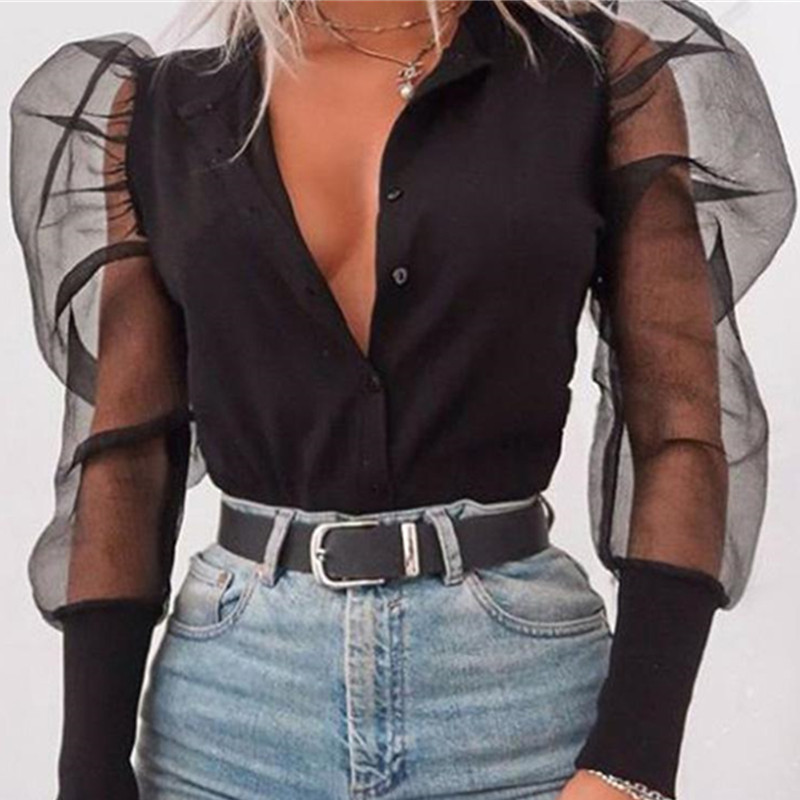 Women Black Mesh   Shirts   Sexy See Through Single Breasted Puff Sleeve V-neck   Blouse   Tops