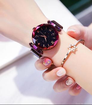2021 Hot New Starry Sky cyfra rzymska zegar na prezent kobiety zegarki moda elegancka klamra magnetyczna Vibrato fioletowy damski zegarek tanie i dobre opinie QINGXIYA QUARTZ NONE CN (pochodzenie) STAINLESS STEEL 3Bar Moda casual 16mm ROUND Odporna na wstrząsy Odporne na wodę