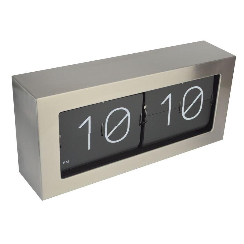 Большой флип часы из нержавеющей стали, ретро, для гостиной, спальни, металл, серебро, Clcok, низкий уровень шума, для офиса, электронный Horloge под