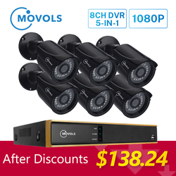 MOVOLS 1080P CCTV камера системы 6 шт наружная/Внутренняя IR-CUT камера безопасности 2MP 5 в 1 DVR P2P водонепроницаемая система наблюдения комплект