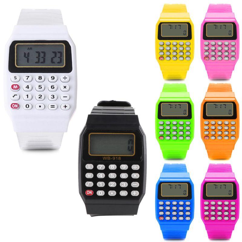 Moda criança criança data de silicone multiuso calculadora eletrônica relógio de pulso a6he 1