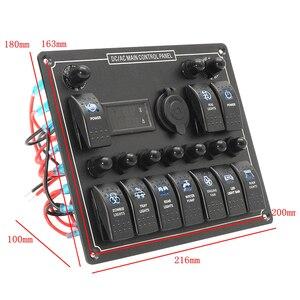 Image 5 - 10 Gang Marine Rocker Switch Panel mit Digital Spannung Display + Zigarette Feuerzeug + 10 Blau LED ON Off taste Schalter