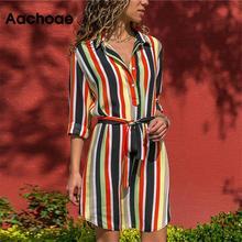 Платье-рубашка с длинным рукавом летнее шифоновое богемное пляжное платье женское повседневное Полосатое платье трапециевидной формы с принтом мини-платье для вечеринок vestidos