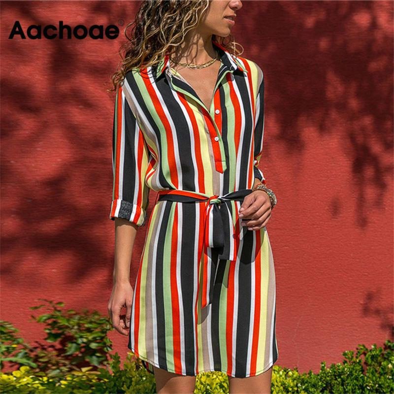 Aachoae Long Sleeve Shirt Dress 2020 Summer Boho Beach Dresses Women Casual Striped Print A-line Mini Party Dress Vestidos